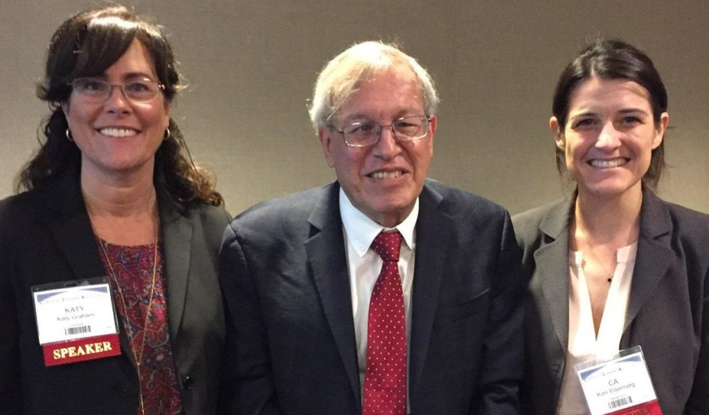 Katy Graham (CAC Chair 2018-2019), and Karli Eisenberg (CAC Chair 2017-2018) thank Dean Chemerinsky after his remarks.