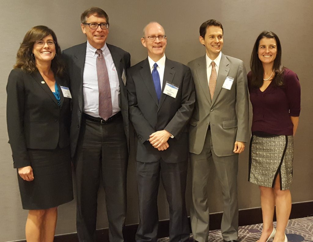 Summit Presenters Katy Graham (CAC Chair 2018-2019); Professor Rory Little (U.C. Hastings College of the Law); Solicitor General DuMont; Michael Mongon (California Dept. of Justice, Solicitor General's Office, CAC Member); Karli Eisenberger (CAC Chair 2017-2018)