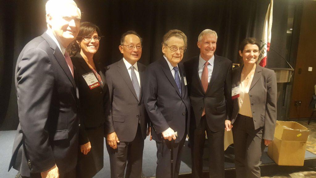 Celebrating were Thomas Greene (Chair, Litigation Section); Katy Graham (Chair, CAC 2018-2019); Hon. Ming W. Chin (Associate Justice, California Supreme Court); Ellis Horvitz (Recipient ALHOF); Robert A. Van Nest (Recipient TLHOF); and Karli Eisenberg (Chair, CAC 2017-2018).
