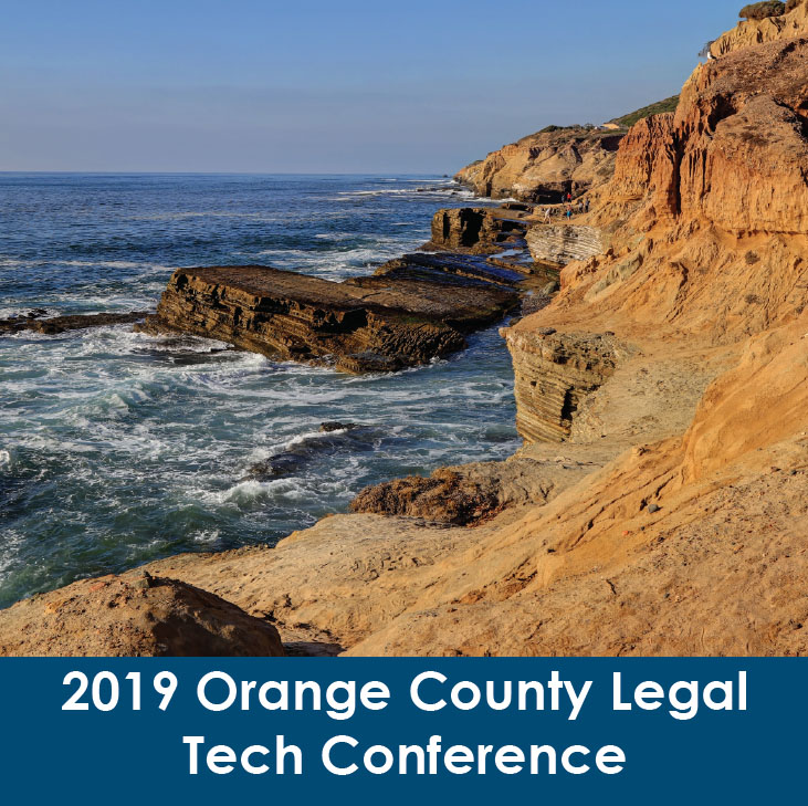 brochure over image of the Orange County Legal Tech Conference