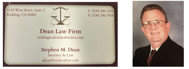image of dean and business card