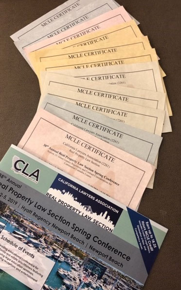 image of MCLE certificates