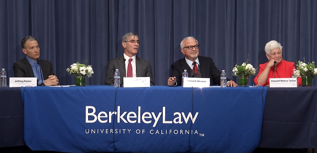 image of moderator Jeffrey Rosen, former U.S. District Judge Jeremy Fogel, former California Supreme Court Justice Carlos Moreno and former U.S. Court of Appeals Chief Judge Deanell Reece Tacha.