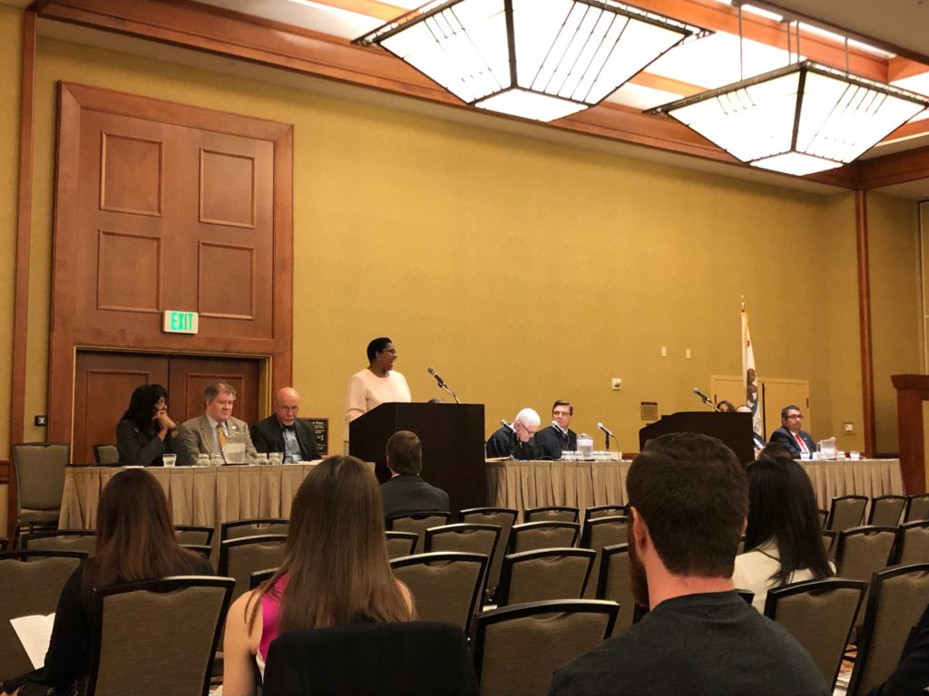 Sacramento, CA: CLA Executive Director Ona Dosunmu speaks to newly admitted members of the California Bar.