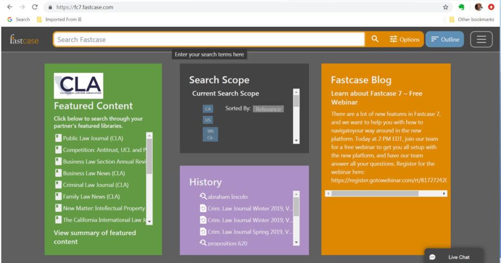 screenshot image of Fastcase