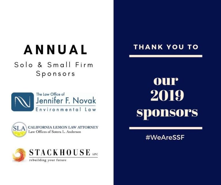 sponsors include Law Office of Jennifer F Novak, California Lemon Law Attorney/Law oFfices of Sotera L. Anderson, and Stackhouse APC. Thank You to our 2019 Sponsors. #WeAreSSF