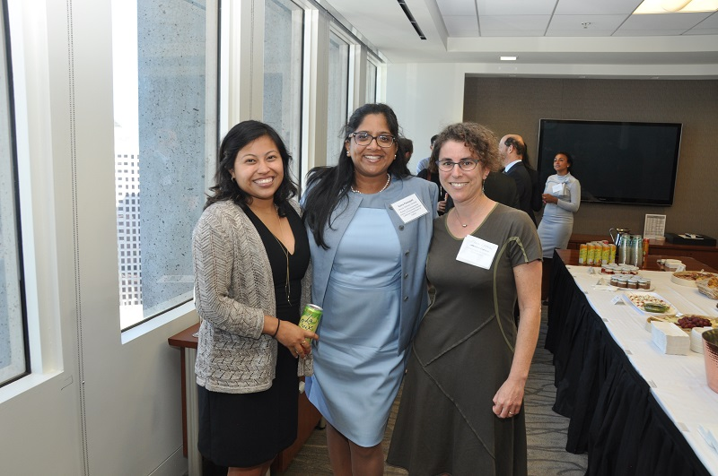 image of Idalmis Vaquero, Suma Peesapati of the California Attorney General's Office, and Shana Lazerow of Communities for a Better Environment