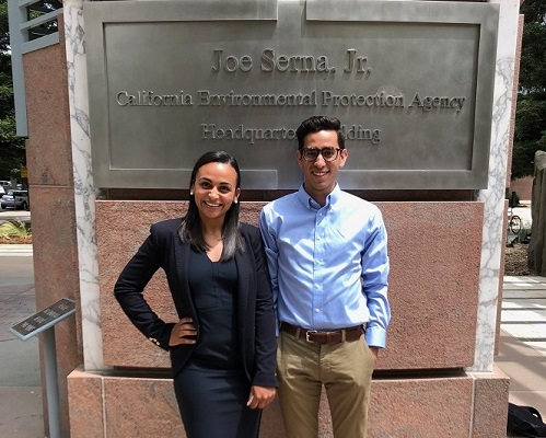 Elias with Paige Samblanet, who was a recipient of a Diversity & Inclusion Fellowship in the summer of 2018, outside the California EPA Building in Sacramento