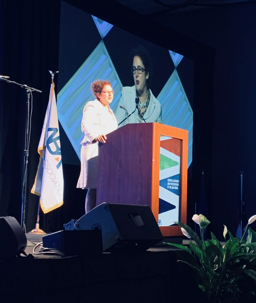 image of CLA President Heather Rosing addressing the ABA General Assembly in San Francisco