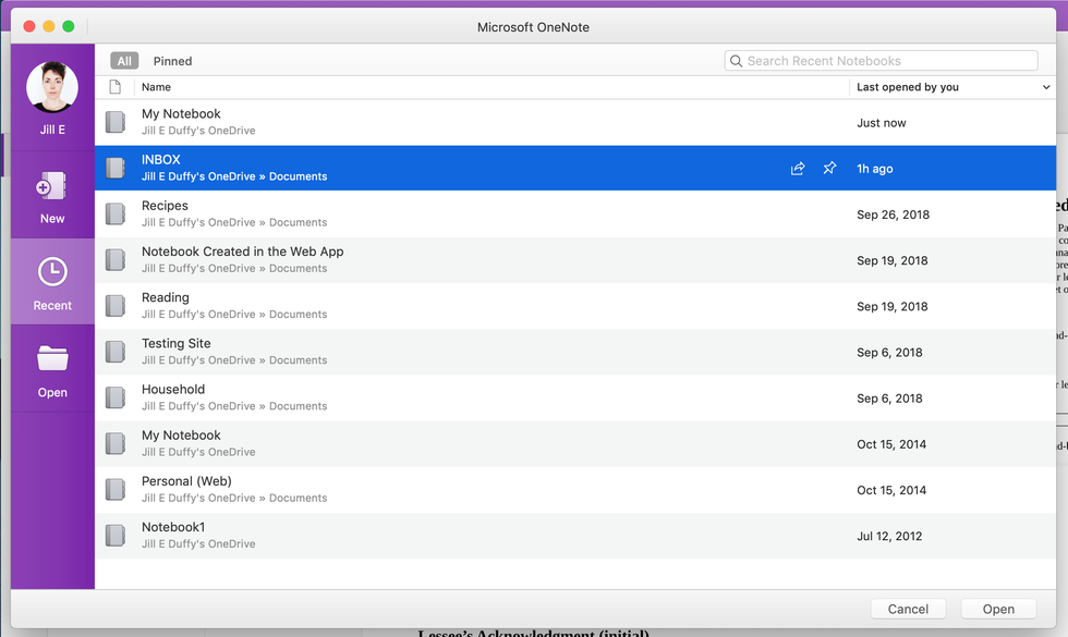 Microsoft OneNote notebook screen
