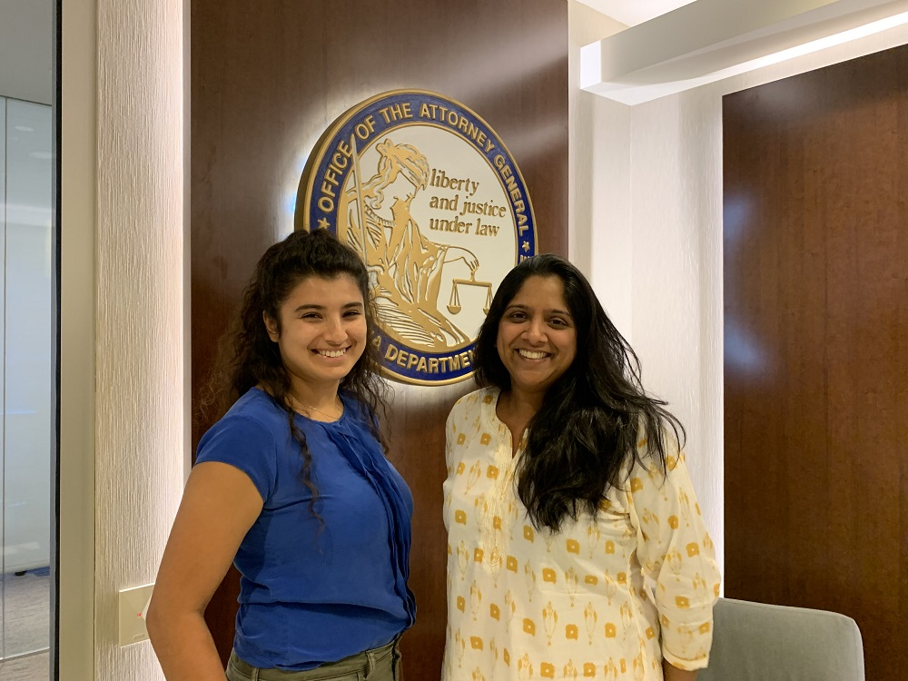 Mina and her supervisor Suma Peesapati, at the San Diego office of the Attorney General's office where she worked.
