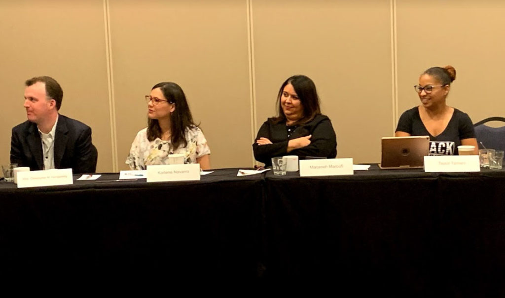 Criminal Law Section Executive Committee Members discussing our accomplishments during the 2018-2019 bar year