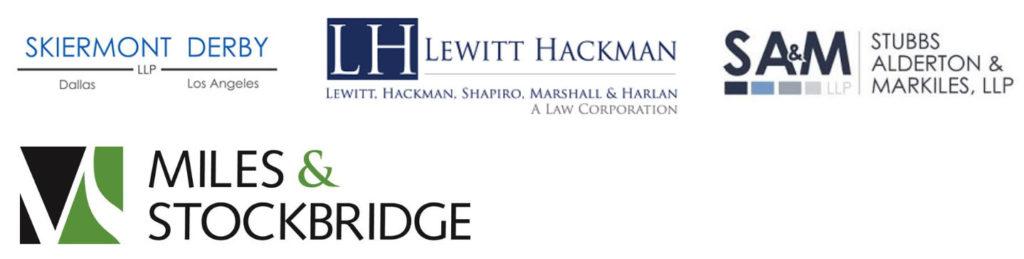 image of logos for Skiermont Derby, Lewitt Hackman, Stuffs Alderton & Markiles, and Miles & Stockbridge