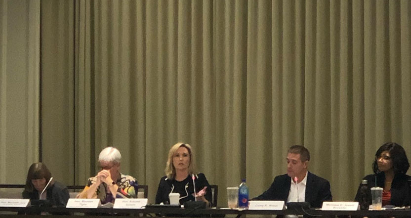 Panel on Leadership and Serving the Community at the Business Law Section Fall Leadership Retreat in Costa Mesa on November 2-3, 2019.  Pictured: Hon. Meredith Jury, Hon. Maureen Tighe, Hon. Autumn Spaeth, BLS Chair Corey Weber and BLS Immediate Past Chair Monique Jewett-Brewster.