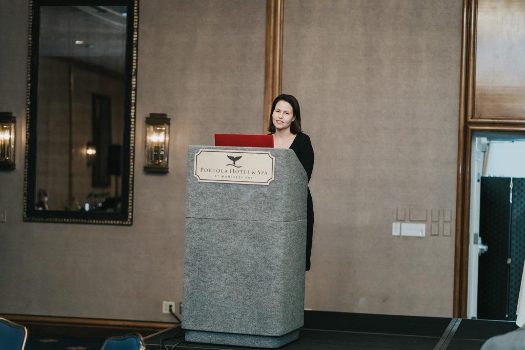 Speaker at podium stand