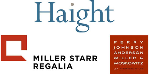 logos for Haight Brown & Bonesteel LLP, Miller Star Regalia, and Perry, Johnson, Anderson, Miller & Moskowitz