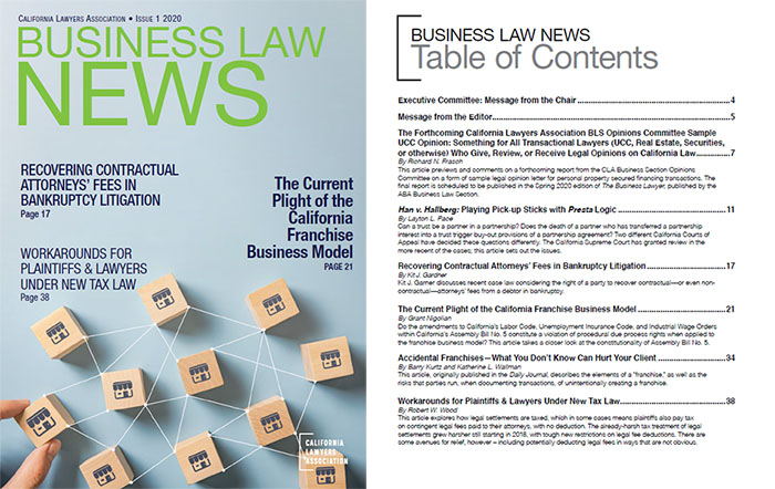 image of the Business Law News cover and table of contents