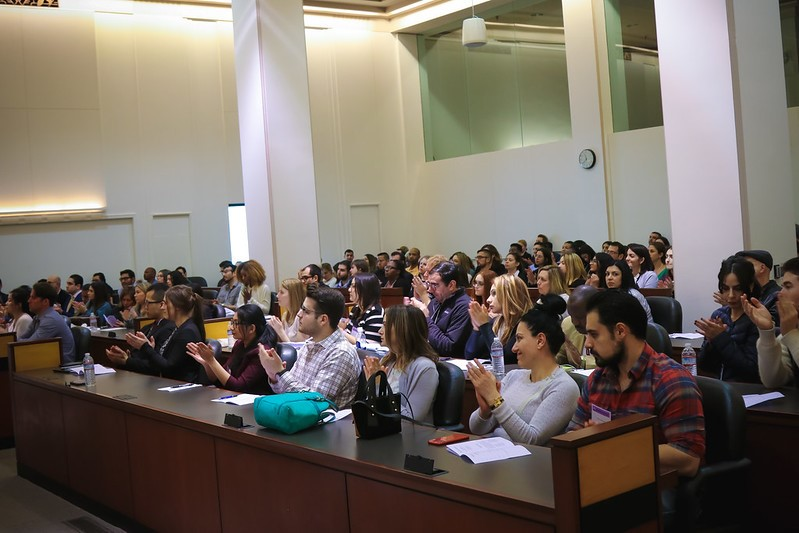 Group of people in lecture hall