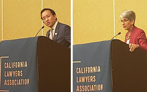 Assembly-member David Chiu and Senator Hannah-Beth Jackson at Legislative Day.