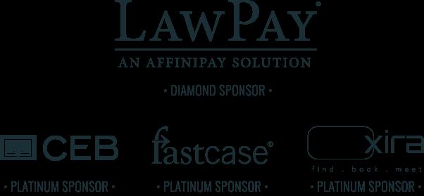 Law Pay Diamon Sponsor, CEB Fastcase Xira Platinum Sponsors