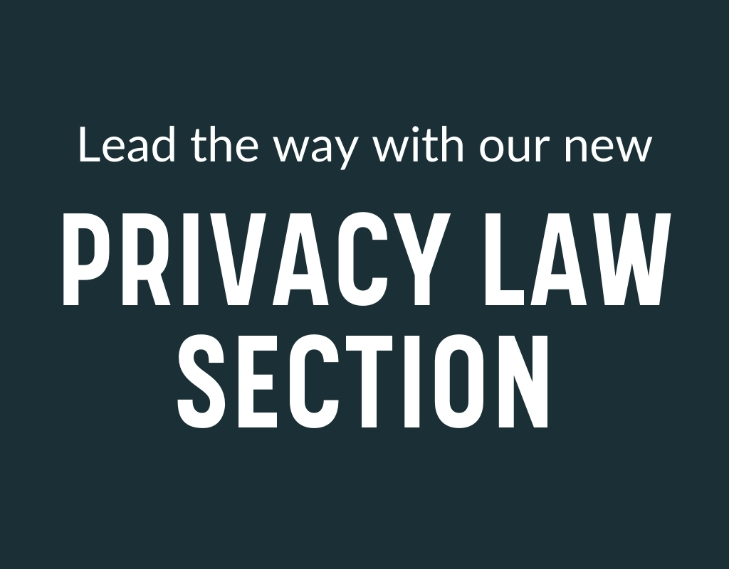 """white text on teal background stating """"Lead the way with our new Privacy Law Section"""""""