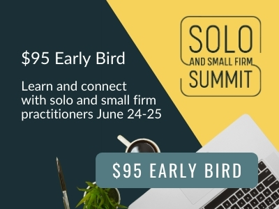 Image reads: $95 Early Bird. Learn and connect with solo and small firm practitioners June 24025