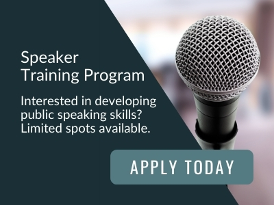 Image reads: Speaker training program. Interested in developing public speaking skills? Limited spots available. Apply today
