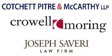 Logos for Cotchett Pitre & McCarthy LLP, Crowell Moring LLP, Joseph Saveri Law Firm