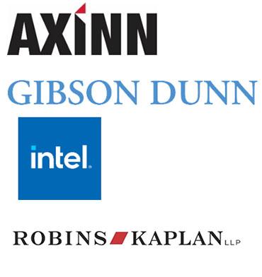 Logos for Axinn, Veltrop & Harkrider LLP, Gibson Dunn, Intel, Robins Kaplan LLP