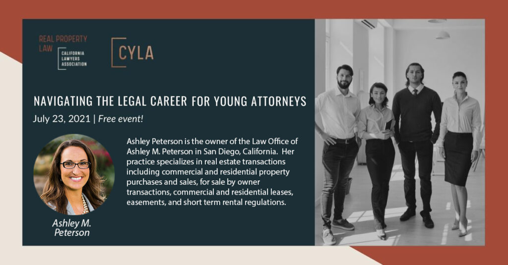 Ashley Peterson is the owner of the Law Office of Ashley M. Peterson in San Diego, California. Her Practice specializes in real estate transactions including commercial and residential property purchases and sales. for sale by owner transactions, commercial and residential leases, easements, and short term rental regulations.